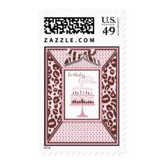 Cheetah Girl Birthday Invite Stamp