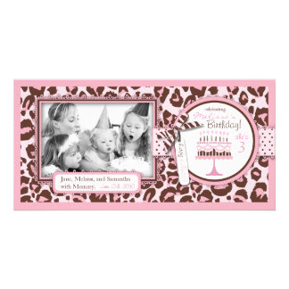 Cheetah Girl Birthday Photo Card