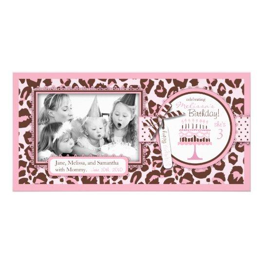 Cheetah Girl Birthday Photo Card