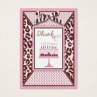 Cheetah Girl Birthday TY NoteCard Large Business Card