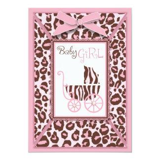 Cheetah Girl Invitation Card Pink A