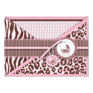 Cheetah Girl Invitation Card Pink C