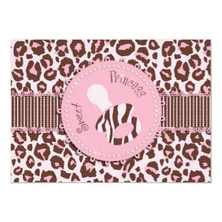 Cheetah Girl Invitation Card Pink D
