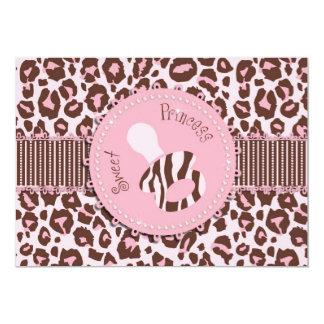 Cheetah Girl Invitation Card Pink D