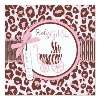 Cheetah Girl Invitation Square Pink B