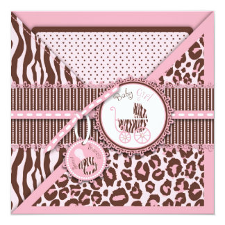 Cheetah Girl Invitation Square Pink C