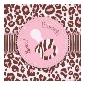 Cheetah Girl Invitation Square Pink D