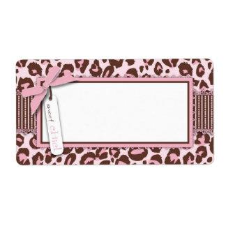 Cheetah Girl Name Tag Custom Shipping Labels