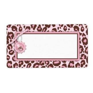 Cheetah Girl Name Tag Pink A Custom Shipping Labels