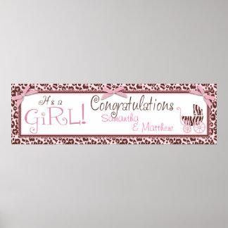 Cheetah Girl Party Banner Print