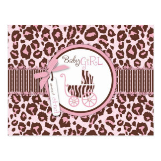 Cheetah Girl Postcard Pink D
