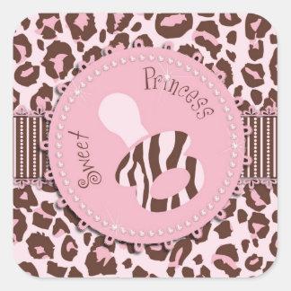 Cheetah Girl Square Sticker Pink 2