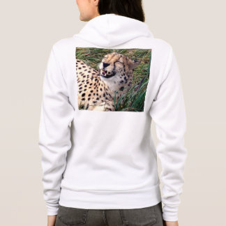 Cheetah_Grins,-Ladies_White_Hooded_Sweatshirt, Hoodie