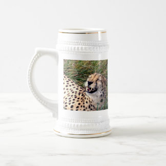 Cheetah_Grins,_White_Beer_Stein_Mug. Beer Stein