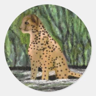 Cheetah habitat classic round sticker