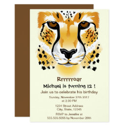 cheetah head close-up illustration birthday party card