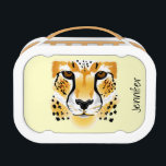 """cheetah head close-up illustration lunch box<br><div class=""""desc"""">This item shows a close-up of the head of a cheetah. The cartoon is a beautiful realistic drawing of the wild cat.  The item is customizable,  so this makes a unique gift.</div>"""