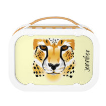cheetah head close-up illustration lunch box