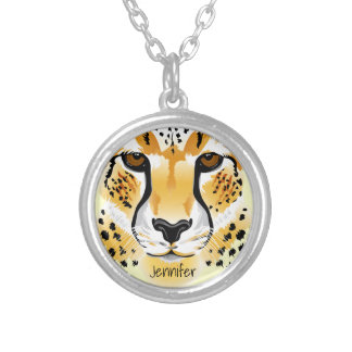 cheetah head close-up illustration name silver plated necklace