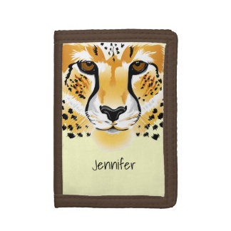 cheetah head close-up illustration name tri-fold wallet