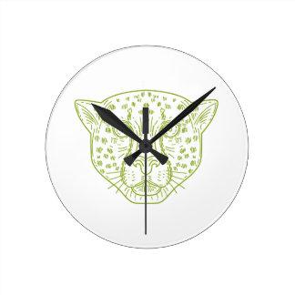 Cheetah Head Mono Line Round Clock