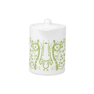 Cheetah Head Mono Line Teapot