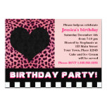"Cheetah Heart Birthday Party - Pink 5"" X 7"" Invitation Card"