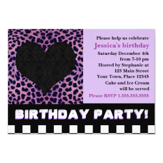 Cheetah Heart Birthday Party - Purple Card