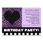 Cheetah Heart Birthday Party - Purple 5x7 Paper Invitation Card