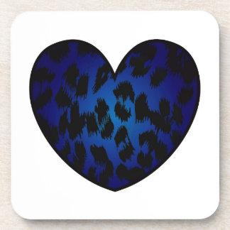 Cheetah Heart Blue Pattern Print Beverage Coaster