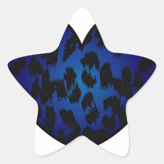 Cheetah Heart Blue Pattern Print Star Sticker