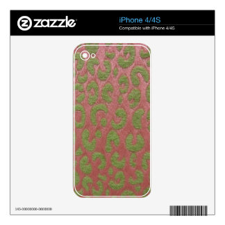Cheetah in Pink & Green Skin For iPhone 4S