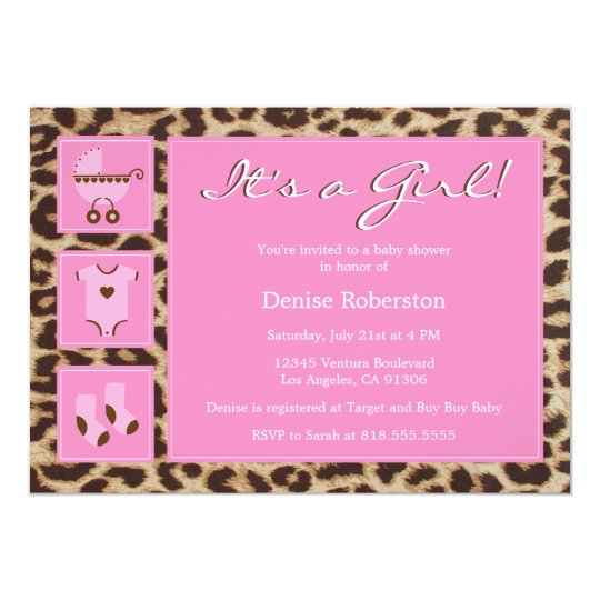 Cheetah - It's a Girl! - Baby Shower Invitation