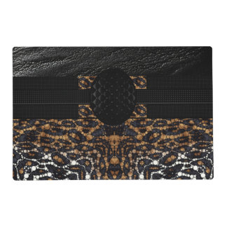 Cheetah Leather Monogram Laminated Place Mat