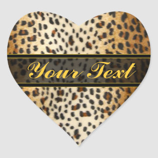 Cheetah Leopard Faux Animal Print Heart Sticker