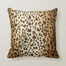Cheetah Leopard Faux Animal Print Throw Pillow