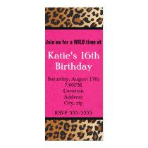 Cheetah Leopard Print Hot Pink Party Invitation
