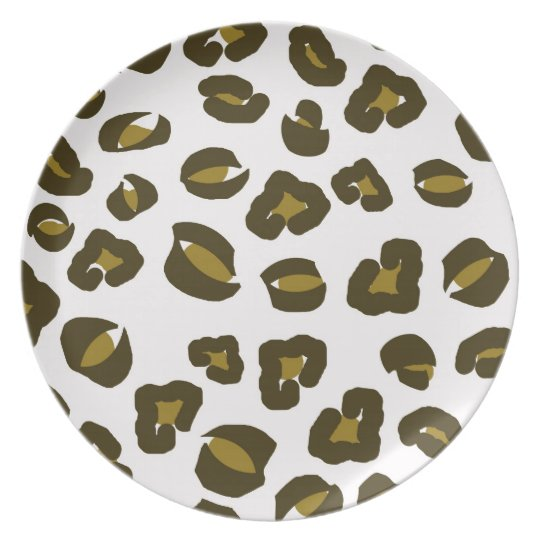 Cheetah leopard skin spots print nature pattern melamine plate