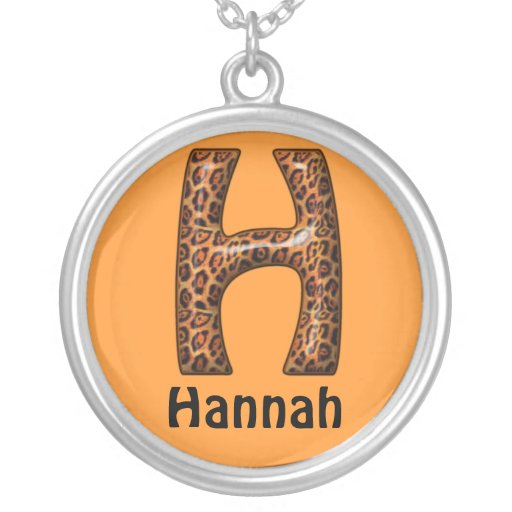 Cheetah Letter H Necklace~Customize Name Round Pendant Necklace