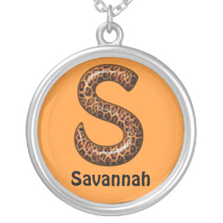 Cheetah Letter S Necklace~Customize Name Round Pendant Necklace