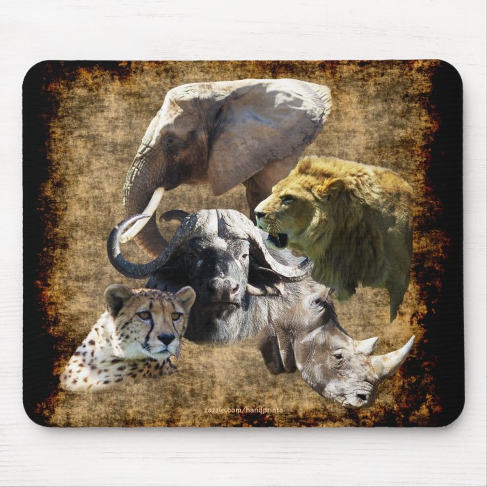 Cheetah, Lion, Elephant, Rhino, Buffalo, Africa Mouse Pad