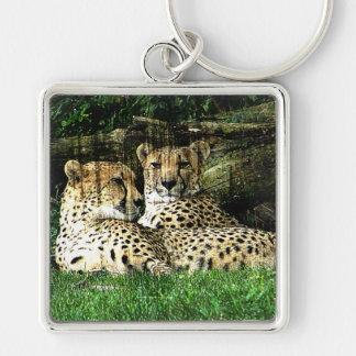 Cheetah Lounging Grunge Keychain