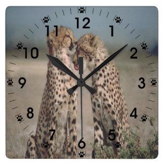 Cheetah Love Square Wall Clock