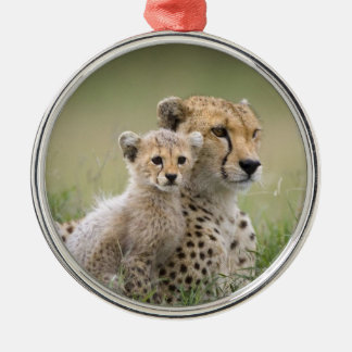 CHEETAH MOM AND BABY CHRISTMAS ORNAMENT