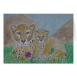 cheetah mother and cub stationery note card