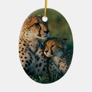Cheetah Mother With Her Cub Double-Sided Oval Ceramic Christmas Ornament