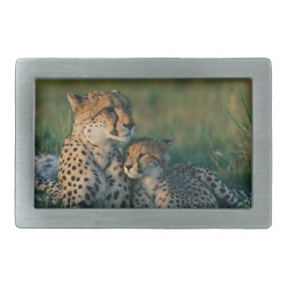Cheetah Mother With Her Cub Rectangular Belt Buckle