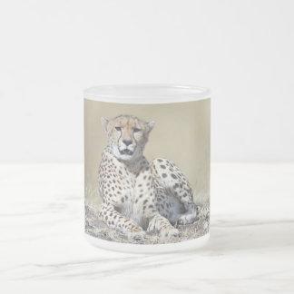 Cheetah 10 Oz Frosted Glass Coffee Mug