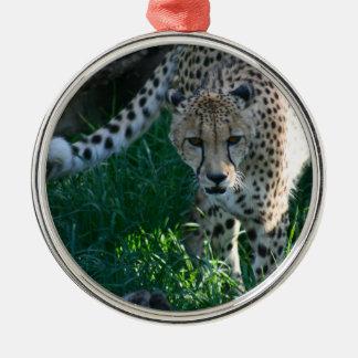 Cheetah on the Hunt Metal Ornament