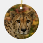 Cheetah Double-Sided Ceramic Round Christmas Ornament